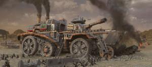 """Une esthétique """"steampunk"""" indéniable dans le film d'Oshii, à l'image de ce superbe tank de combat."""